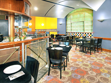 interior of restaurant with carpeted floor